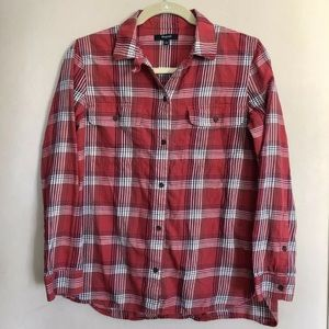 Madewell Size Small Red Plaid Button Down Top